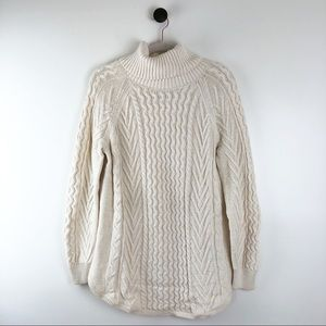 Gap Cable Knit Turtleneck Sweater Cream Sz Medium